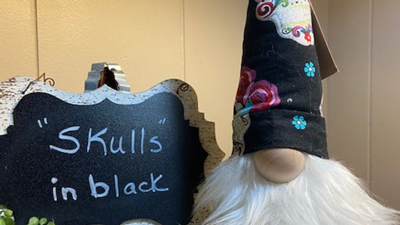 """""""Skulls"""" in Black - Scandinaviain Gnome  with Shoes - 15"""" x 4"""""""