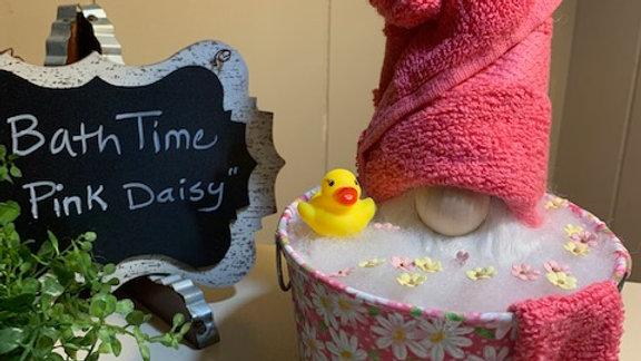 """Bath Time - Pink Daisy"" Scandanavian Custom Gnome in Washbucket & Rubber Duck"