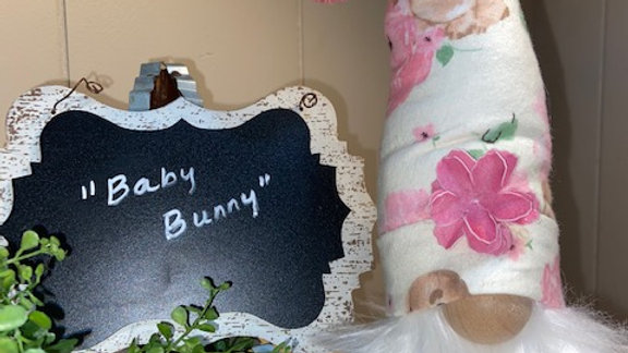 """""""Baby Bunny"""" Scandinavian Gnome 13 1/2"""" x 4"""" with Shoes"""
