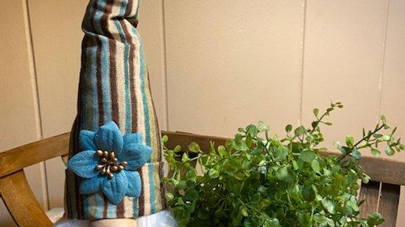 "Teal & Brown Striped Scandinavian Gnome 13 1/2"" x 4"""