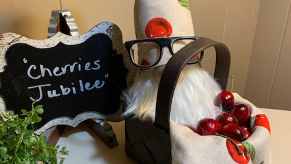 """Cherries Jubilee"" Scandanavian Custom Gnome with Basket & Cherries"