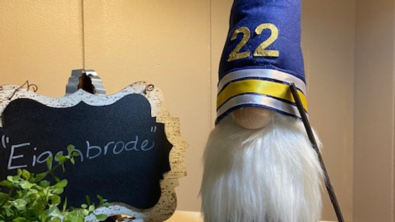 """Eigenbrode"" Hockey Player Scandanavian  Gnome with Hockey Stick & Puck"