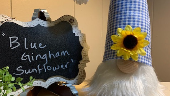 """""""Blue Gingham Sunflower"""" Scandanavian Custom Gnome with Shoes"""