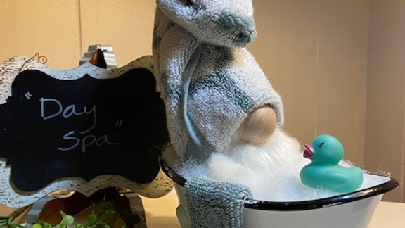 """""""Spa Day"""" - Teal & White Towel - Scandanavian Gnome with Enamel Footed Tub"""