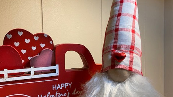 "Red & White Check with Heart Scandinavian (Small) Gnome 10"" x 3 1/2"" with Shoes"