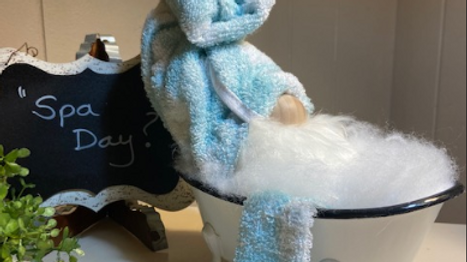 """""""Spa Day"""" Scandanavian Gnome with Enamel Footed Tub"""