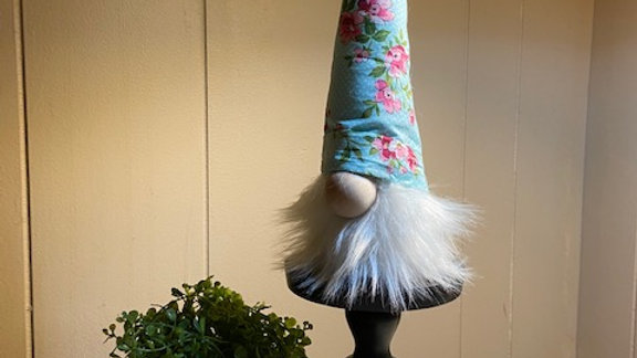 "Teal & Pink Floral Scandinavian (Small) Gnome 10"" x 3 1/2"""