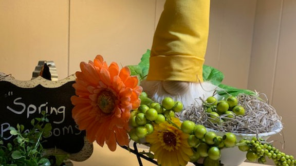 """Spring Blossoms"" Scandanavian Custom Gnome with Wheelbarrow"