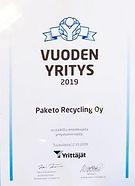 Paketo Recycling Oy Vuoden Yritys 2019