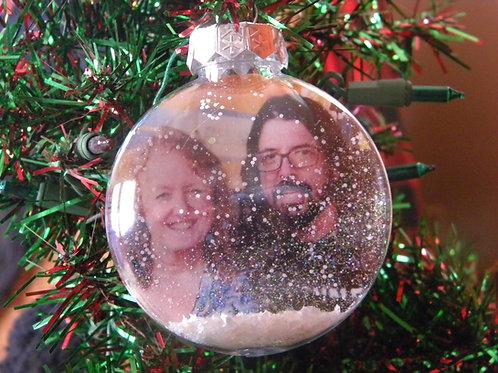 "Personalised 4"" Snow Globe Christmas Tree Ornament"