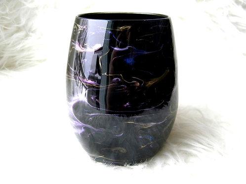 Black Jewels Swirl Stemless Wine Glass
