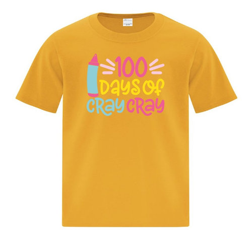 Youth Crayon 100 Days of School T-Shirt