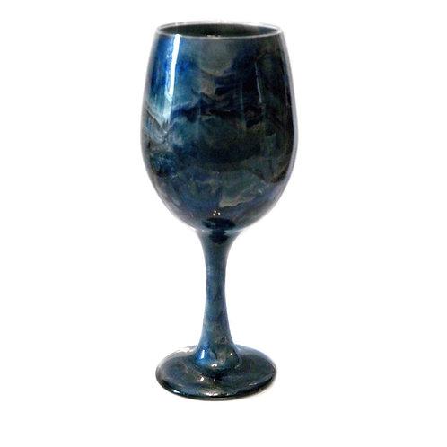 Blue Black Swirl Wine Glass