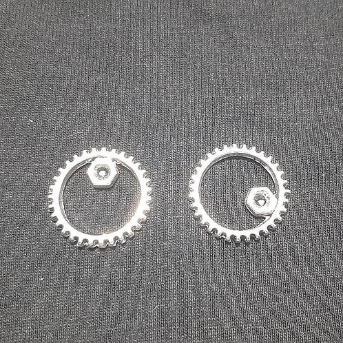 Gear Cog Silver 17mm Diameter Charm