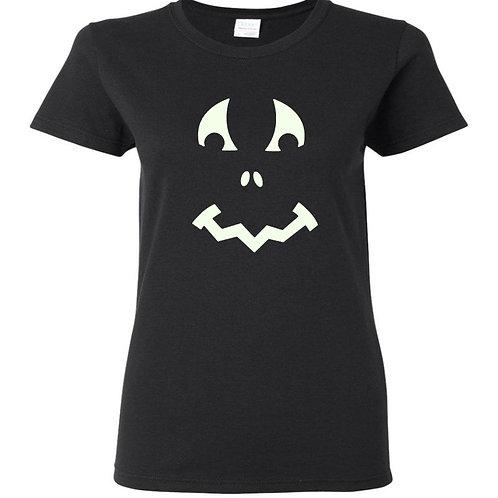 Glow In The Dark Pumpkin 4 Halloween Ladies Fit T-Shirt - Custom Design