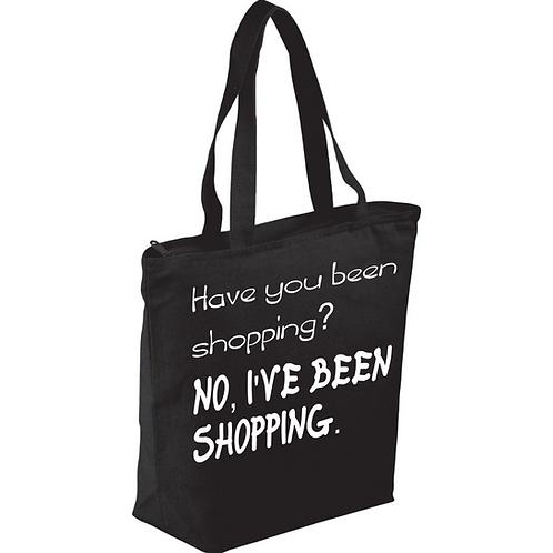 Black Zippered Tote Bag - Custom Design