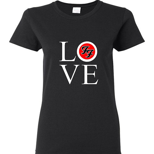 Love Foo Fighters White Logo Ladies Fit T-Shirt
