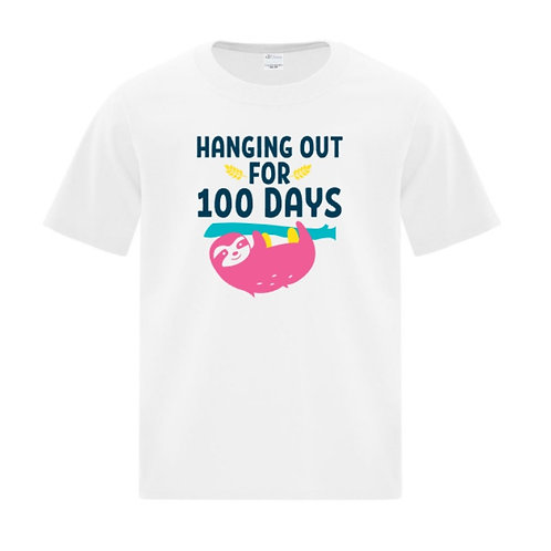 Youth Sloth 100 Days of School T-Shirt