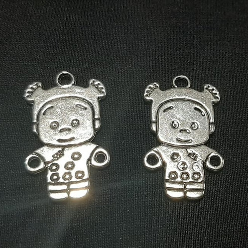 Child in Snowsuit Silver 26mm Long Charm