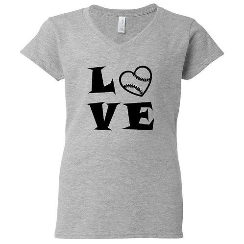 Baseball Heart Love Ladies T-Shirt