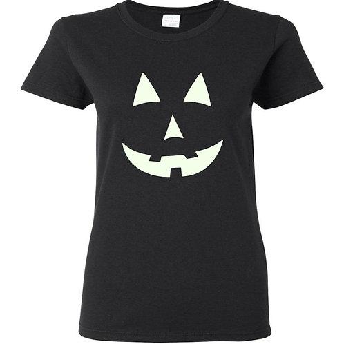 Glow In The Dark Pumpkin 1 Halloween Ladies Fit T-Shirt - Custom Design