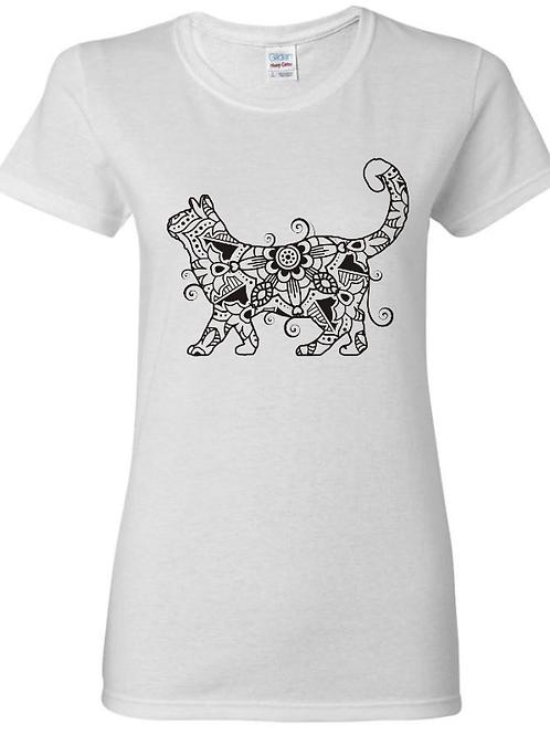 Mandala Cat Ladies Fit T-Shirt