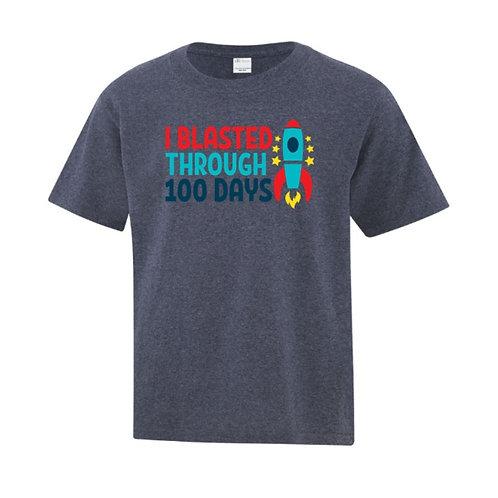 Youth Rocket Ship 100 Days of School T-Shirt