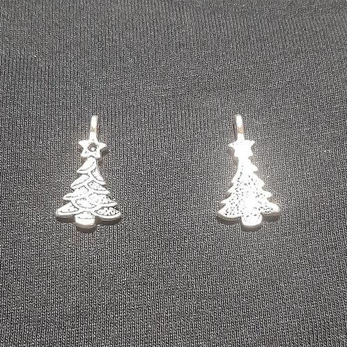 Christmas Tree Silver 20mm Long Charm