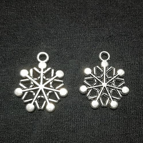 Snowflake Silver 19mm Long Charm