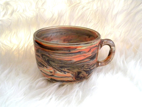 Orange Brown Colour Changing Swirl Short Mug