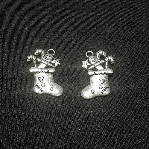 Stocking with Gifts Silver 27mm Long Charm