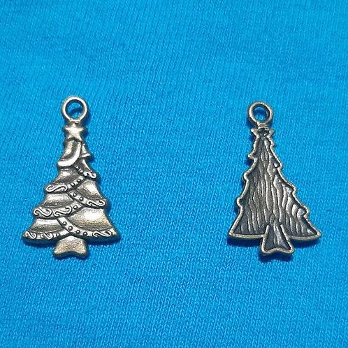 Christmas Tree Bronze 24mm Long Charm