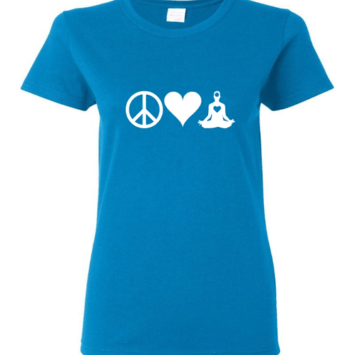 Peace Love Yoga Ladies T-Shirt