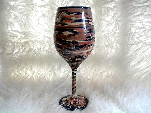 Navy Coral Cream Swirl Wine Glass
