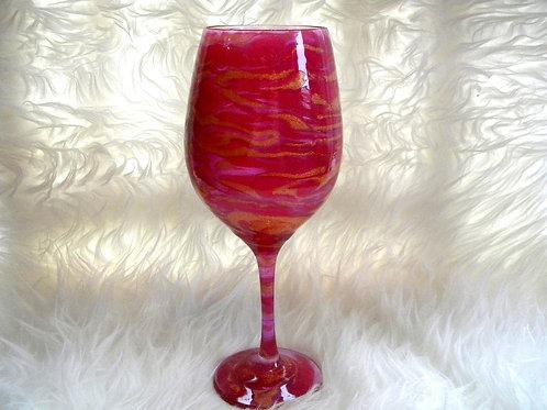 Pink Gold Swirl Wine Glass