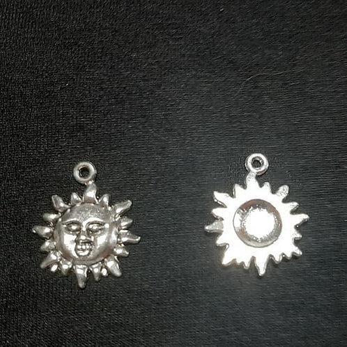 Sun Face Silver 22mm Long Charm