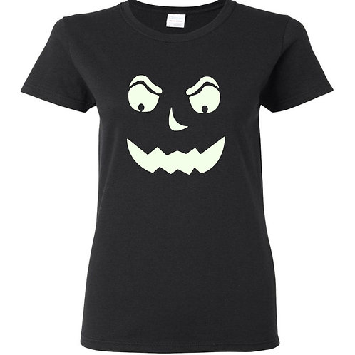 Glow In The Dark Pumpkin 3 Halloween Ladies Fit T-Shirt - Custom Design