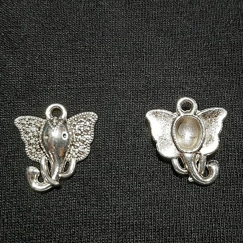 Marcasite Style Elephant Silver 16mm Long Charm