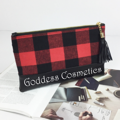 Buffalo Plaid Cosmetics or Pencil Bag - Custom Design