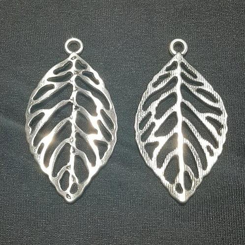 Leaf Silver 47mm Long Charm