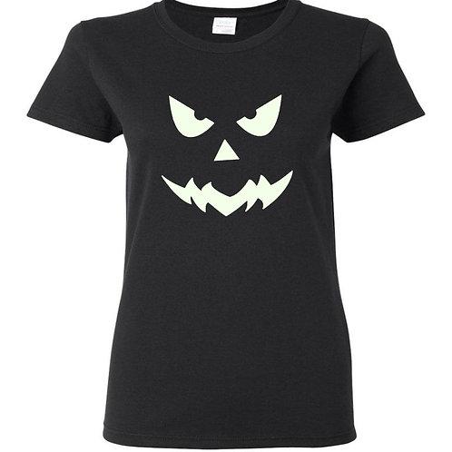 Glow In The Dark Pumpkin 2 Halloween Ladies Fit T-Shirt - Custom Design