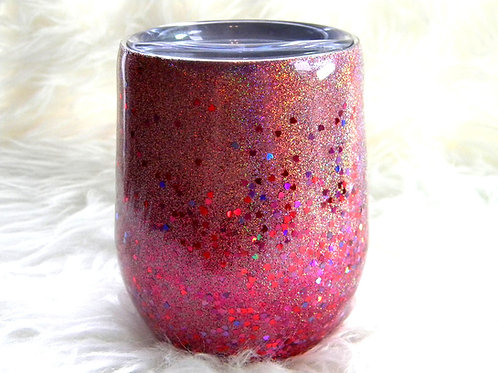 Holographic Pink Hearts Confetti Stainless Steel Cup