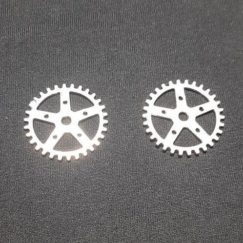 Gear Cog Silver 24mm Diameter Charm