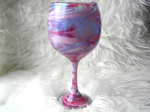 Purple Pink Swirl Globe Wine Glass