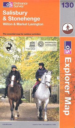 Salisbury & Stonehenge OS Map 130 Explorer