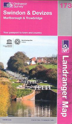 Swindon & Devizes OS Map 173 Landranger