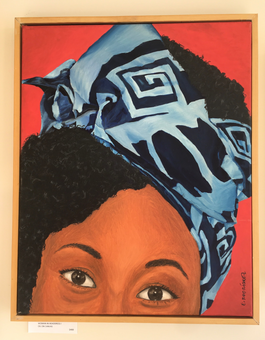 Woman in headdress I / Acrylic on canvas panel / $400