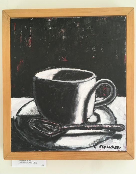 Black coffe mug / Acrylic on canvas / $35