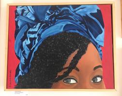 Woman in headdress II / Acrylic on canvas panel / $400