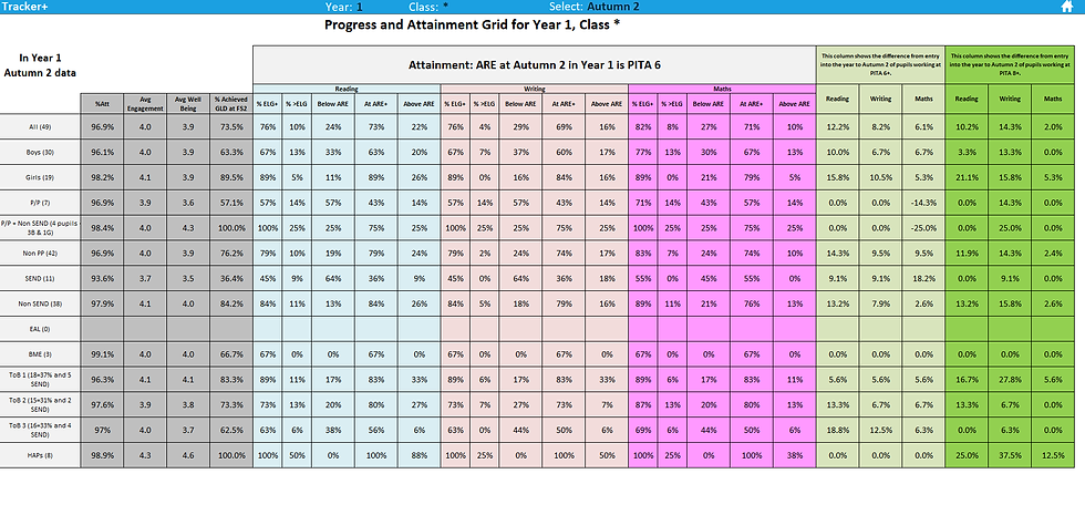 PITA Progress and Attainment Summary